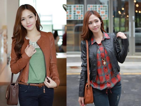 Jaket kulit wanita dengan design simple dan modis warna coklat dan hitam menambah keanggunan