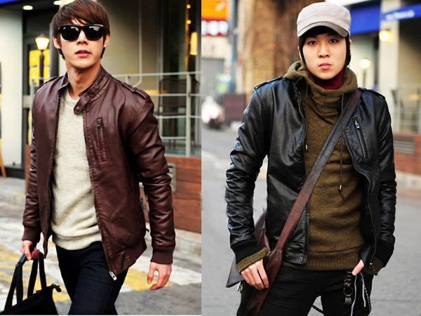 Model jaket korea keren dan murah bahan sintetis dan asli kulit warna coklat dan hitam elegan