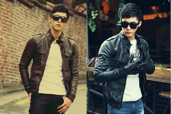 Jaket korea jks 110 jaket kawula muda warna hitam dan coklat tua semi kulit
