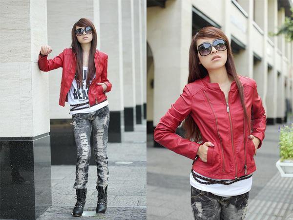 Jaket model wanita model Slide Ladies warna merah bahan ferari atau kulit asli