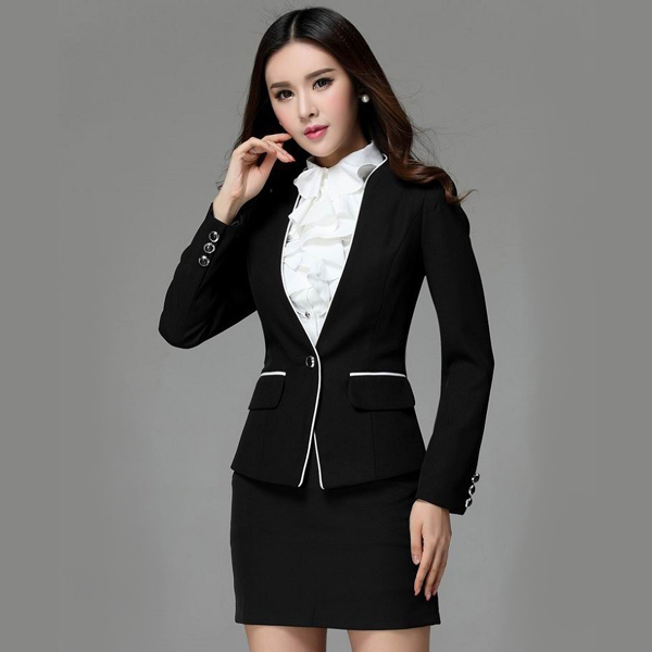Model Blazer dan jas modern blazer kerja wanita hitam list putih