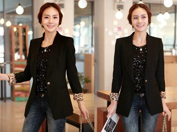 Model Blazer dan jas modern blazer kerja wanita hitam modis