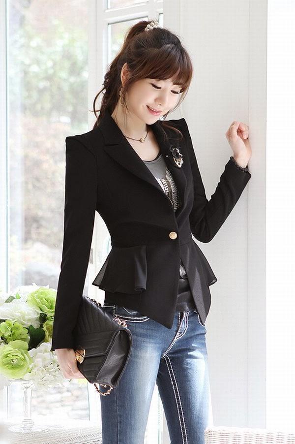 Model Blazer dan jas modern blazer kerja wanita hitam stylish