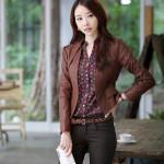 Model Jaket Kulit Sintetis JGW-31 Model Jaket Korea Wanita Terbaru Dengan Gaya Korean Style