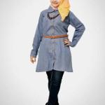 Elegant korean muslimah denim blouse model baju muslim dan model jaket wanita muslim 2015