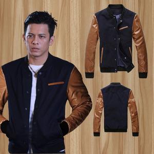 Jaket Kombinasi Semi Kulit SK-45 Ariel Black Coklat Muda Model Jacket Baseball Keren