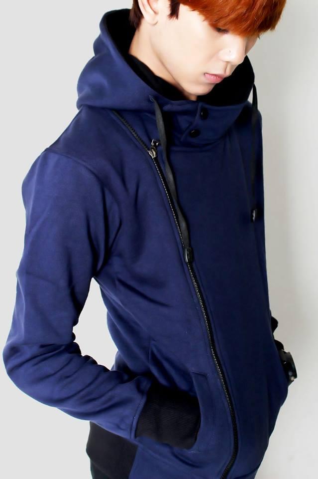 Jaket Korea Harakiri Kode JK-75 Biru Dongker Fashion Ala Korea Terbaru