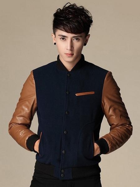 Jaket Korea SK-45 Jual Jaket Varsity Murah Bahan Semi Kulit Dan Fleece Super