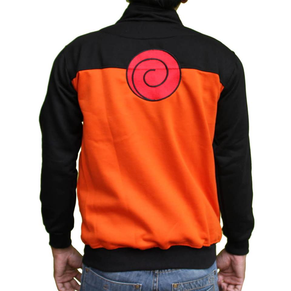 Jaket Naruto Shippuden Tampak Belakang Model Jaket Unik Kombinasi Warna Hitam Dan Orange