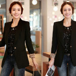 Blazer Kerja BL-102 Model Jas Wanita Korea Hitam Terbaru