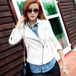 Jaket Kulit Ramping Pendek Perempuan Putih Model Jaket Kulit Wanita Menarik